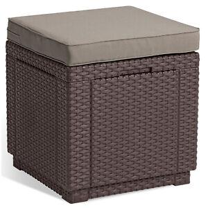 Détails sur ALLIBERT JARDIN Table-pouf avec coussin et rangement intégré  graphite / brun
