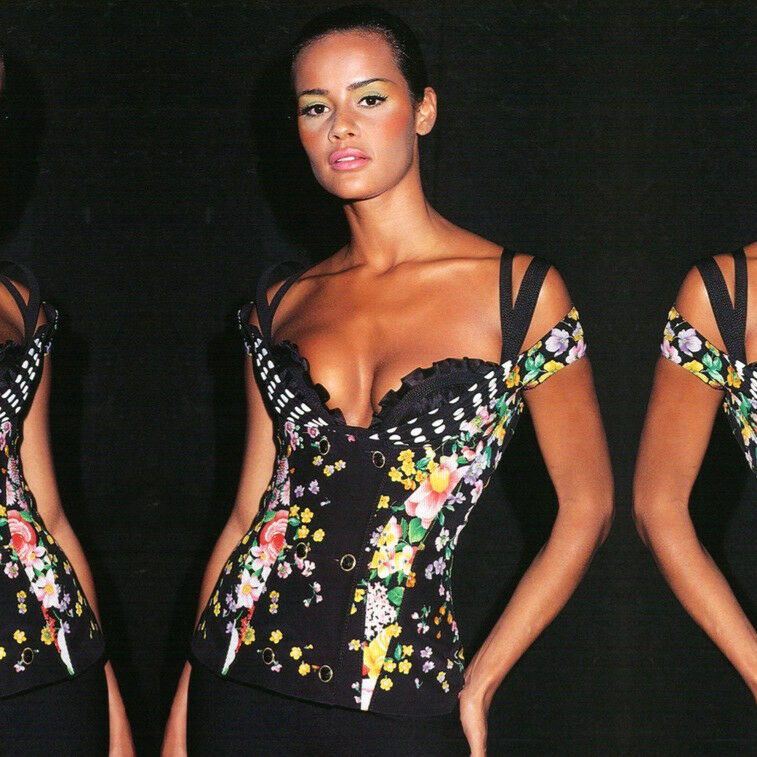 GIANNI VERSACE COUTURE schwarz silk double breasted sleeveless top from 1993