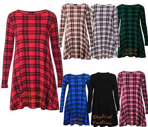 A17-Womens-Green-Red-Tartan-Check-Print-Long-Sleeve-Swing-Skater-Dress-size8-26