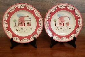 Set-of-2-Johnson-Bros-Farmhouse-Chic-8-034-Farmyard-Chick-Salad-Dessert-Plates-EUC