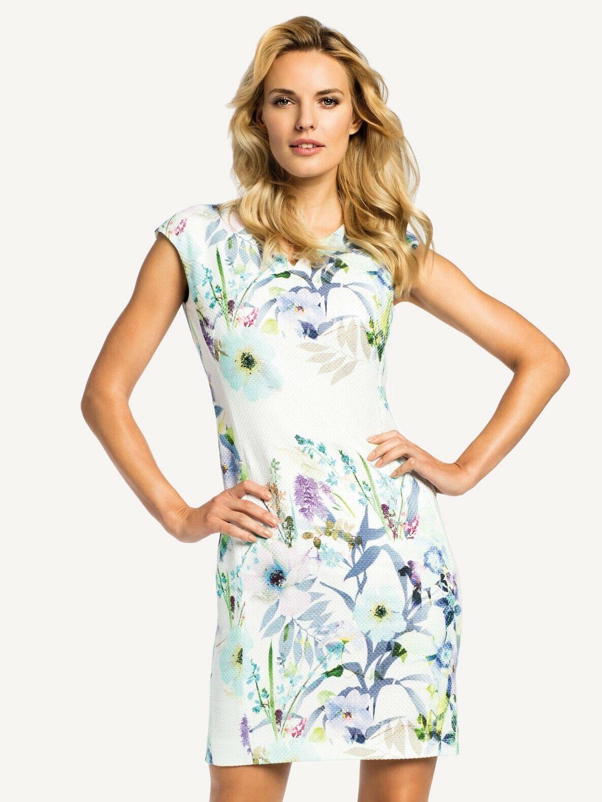 details zu elegantes kleid mit blumenmuster Ärmellos knielang mehrfarbig  gr. 40 44 48