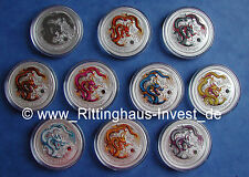 Lunar II 2 Drache dragon farbig color coloriert 10 coin set 1oz silver ten farbe