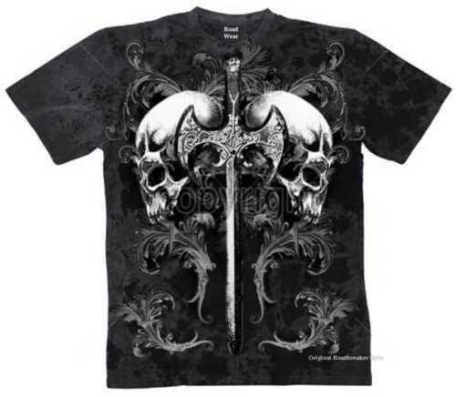 T Shirt Batik black Gothik Vintage Biker /&Tattoomotiv Modell Totenköpfe Schwert