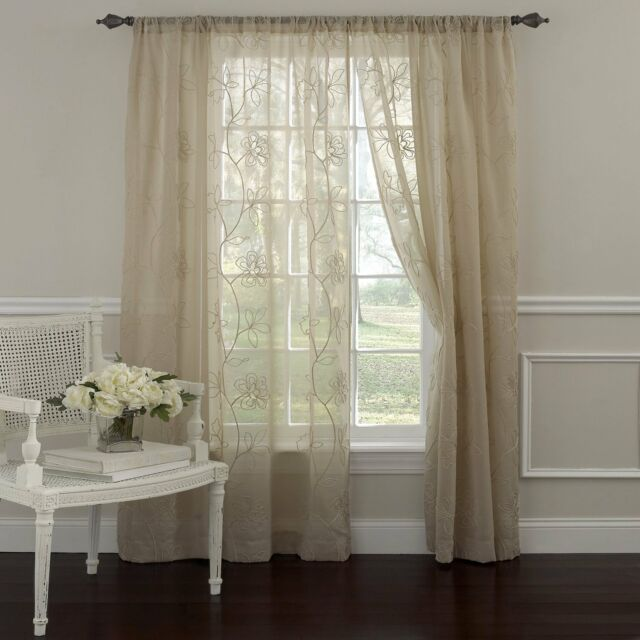 Laura Ashley Frosting Window Treatment Panel 52 By 63 Inch Ivory