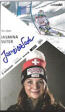 AUTOGRAFO AK Jasmina Suter ski alpine svizzera firmato a mano sorella V. Raphaela