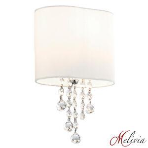Applique-Murale-1x60W-Tissu-Limpide-Blanc-Chrome-Lampe-Classique-Neuf