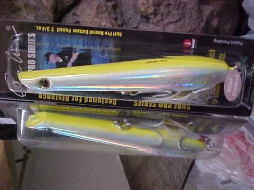 "Strike Pro 6 3//4/"" RON ARRA Wood TopWater Surf Pro Flat Bottom WD-031A#SM31"