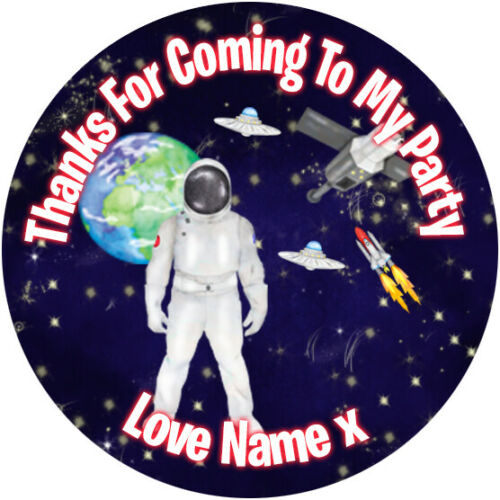 24 Personalised Stickers For Party//Sweet Cone Bags Spaceman ~ Astronaut