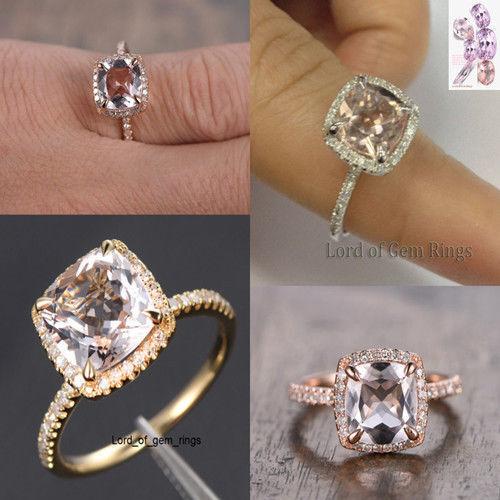 8mm Cushion Cut VS1 Pink Morganite Engagement Ring Halo Diamonds,14K White gold