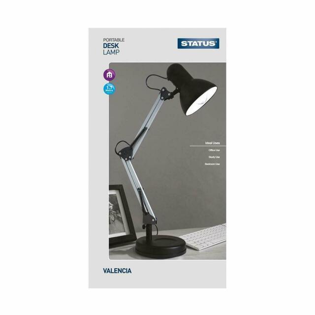 STATUS VALENCIA BLACK METAL ANGLED DESK LAMP ADJUSTABLE