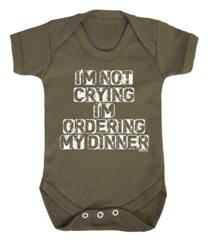 NOT CRYING IM ORDERING DINNER Funny Boys Girls BABYGROW Vest Bodysuit Rompersuit