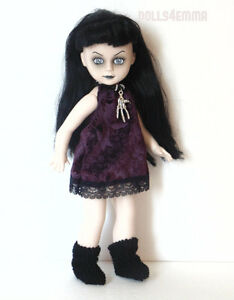 LIVING-DEAD-DOLL-Clothes-Custom-Goth-Black-DRESS-BOOTS-NECKLACE-Fashion-NO-DOLL
