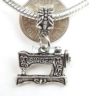 Singer Sewing Machine Dangle Large Hole Bead for European Charm Bracelet