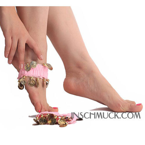 C131 A Pair Belly dance Foot band with golden Coins Foot jewelry Foot chain