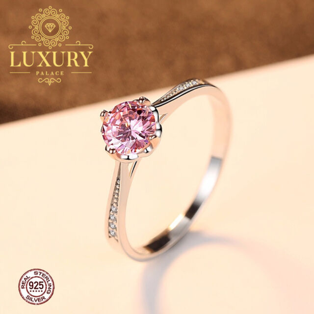 Pink Flower Bud Solid 925 Sterling Silver Solitaire Engagement Ring for Women