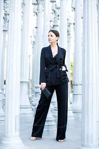 seta satinata Zara Blogger Blazer di Studio cravatta di cintura senza nera giacca Xs con in BW0q0RF