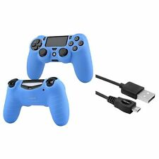 Black 6FT Micro USB Charger Cable+Blue Skin Case for Sony PS4 controller
