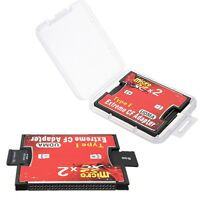 Dual 2X Slot Convert Micro SD/SDXC TF To CF Type I Memory Card Reader Adapter