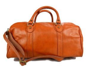 Caricamento dell immagine in corso Borsone-pelle-miele-uomo-donna-borsa- viaggio-con- 31da39d22e6