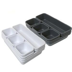 Organisateur Tiroir Separateur Bac Plastique Compartiment Rangement Boite Cuisin Ebay