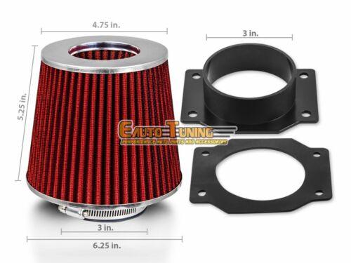 Mass Air Flow Sensor Intake Adapter RED Filter For 93-97 Impreza 1.8L H4