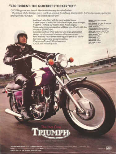 VINTAGE TRIUMPH TRIDENT 750 MOTORCYCLE AD POSTER PRINT 48X36 BIG 9MIL PAPER