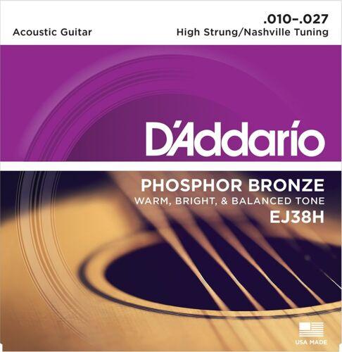 D/'Addario EJ38H Phosphor Bronze Acoustic Guitar Strings 10-27 High Strung Tuning