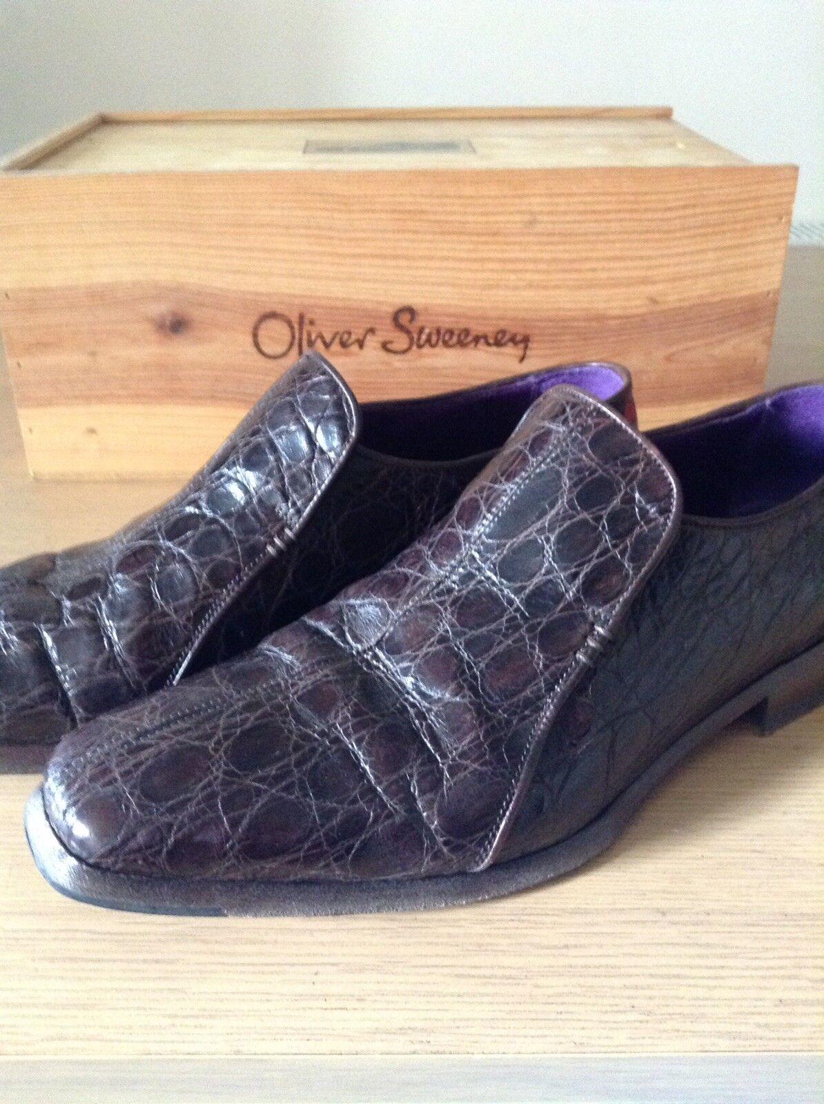 Oliver Sweeney su misura la pelle di coccodrillo MOCASSINI, MISURA 8/eur 42, marrone scuro