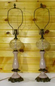 Vintage-Paul-Hanson-Lamps-Matching-Pair-Crystal-Glass-Pink-Ceramic-Porcelain