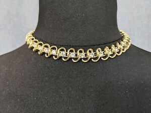 Lovely Vintage Gold-tone Ribbon Rhinestones Necklace Choker by Coro Jewellery
