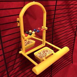 2 x Bird Mirror /& Perch Beads Interactive Bird Toy Budgie Canary Cockatiel Finch