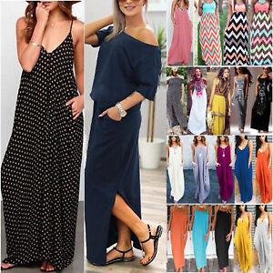 Women-Summer-Long-Maxi-Dress-Casual-Beach-Party-Sundress-Plus-Size-Boho-Loose-AU