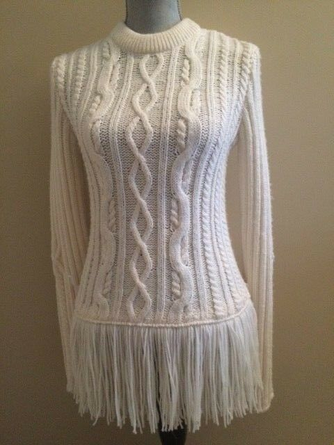 TORY BURCH VALERO FISHERMAN SWEATER, SIZE SMALL, NEW IVORY COLOR