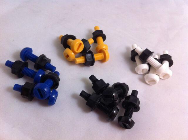 16 Pack Plastic Nylon Bolt & Nut Yellow White Black Blue Number Plate Screws Kit