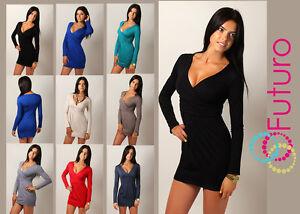 Women-039-s-Mini-Dress-V-Neck-Cocktail-Tunic-Long-Sleeve-Plus-Sizes-8-18-8518