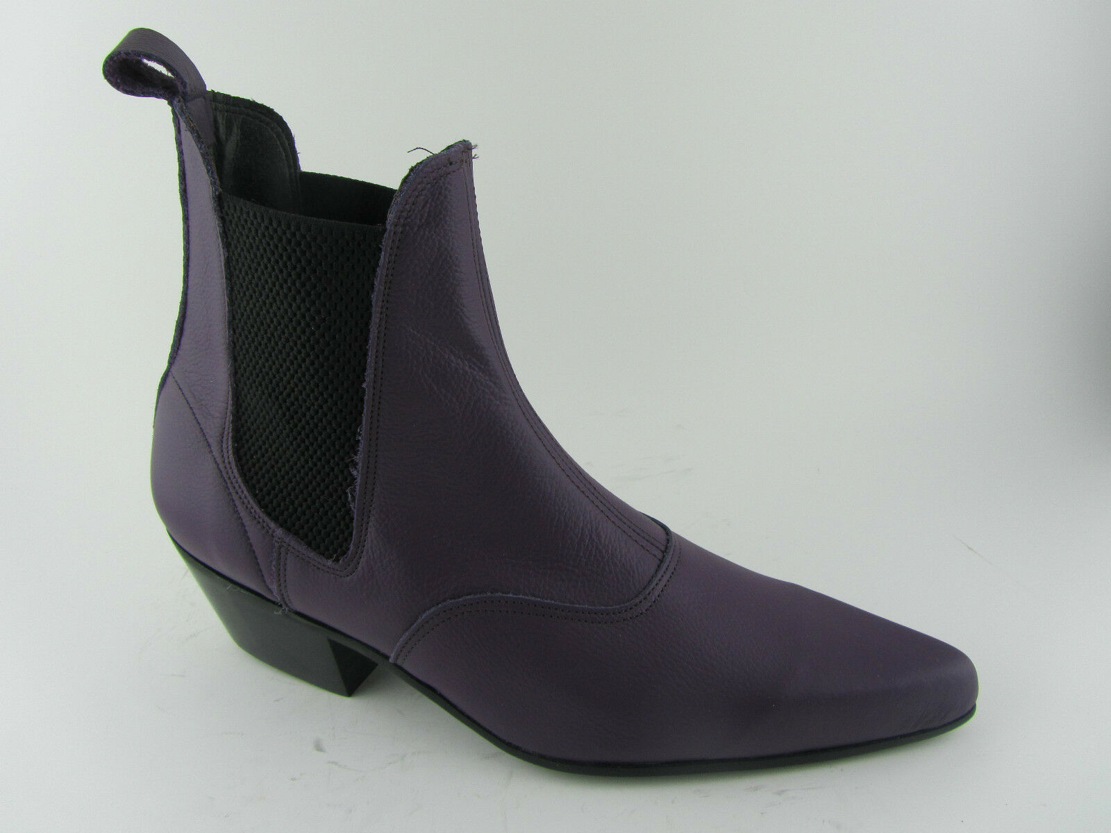 Retro Mens Purple Leather Chelsea Beat Boots Cuban Heel Beatle Pointed Toe