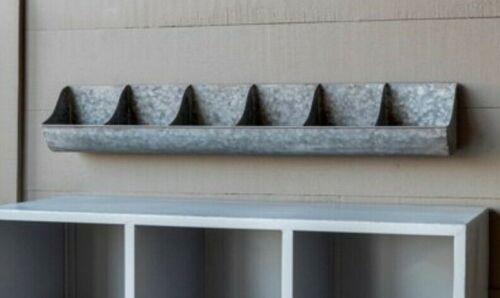 Galvanized Metal Wall Bin Divided Caddy Farmhouse Storage Bins Wall Organizer