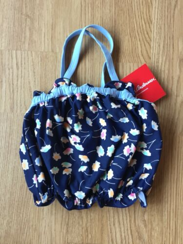 New Hanna Andersson Girls Swim Top Ruffle Flowers Blue Size 120 Kids 6-7