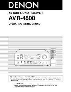denon avr 4800 av receiver owners manual ebay rh ebay co uk denon avr 4800 manual pdf Denon AVR 4800 Specs