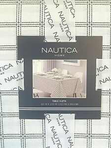 Nautica Home Oblong Oval 60 X 102 Tablecloth Quadrant White Black New Ebay