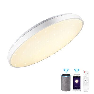 JDONG Smart Deckenleuchte kompatibel mit  Alexa und Google Home 24W dimmbar /Ø 40CM Nachtlicht X5058B-24W-AL Farbwechsel Warmweiss- Kaltweiss Sternen