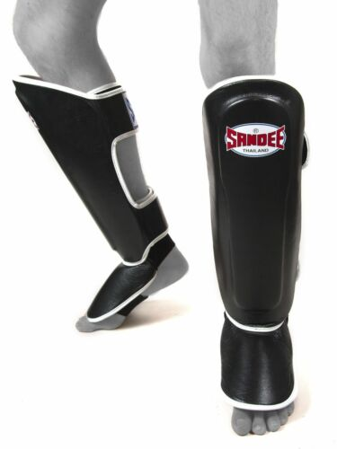 Adult Sandee Authentic Black /& White Leather Boot Shin guards Muay-Thai Boxing