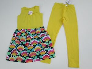 Hanna-Andersson-130-8-NWT-Girls-Floral-Sleeveless-Dress-Yellow-Knit-Leggings-KK1
