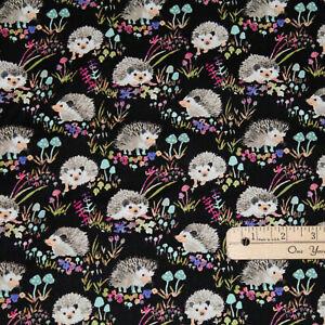 Black Hedgehogs Hedgehog Flowers Cotton Fabric 1 2 Yard 43499a 5 Ebay