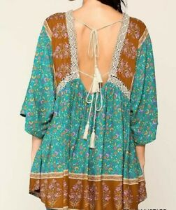 New-Gigio-By-Umgee-Tunic-Top-M-Teal-Crochet-Tassel-Tie-Floral-Boho-Peasant