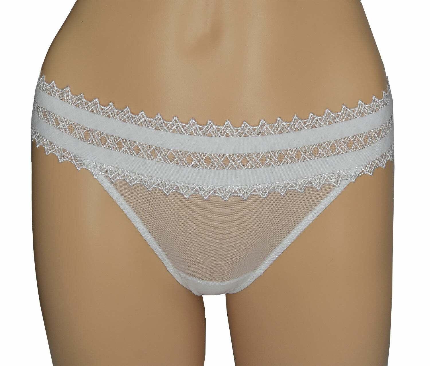 La Perla Studio Women's White Lace Trim Bikini 1 XS