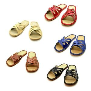 Womens-Ladies-Eco-Leather-Slippers-Slip-On-Shoes-Size-3-4-5-6-7-8-Sandals-KP1