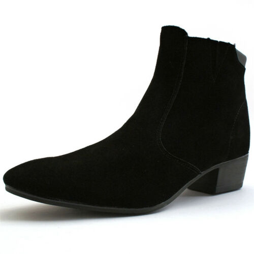 Cuban Men/'s British High Top Heel Zip Suede Point Toe Shoes Casual Ankle Boots a