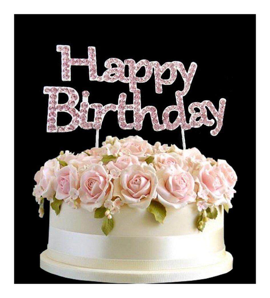 Rhinestone Birthday Cake Topper Number Pick Pink Happy Birthday Uk