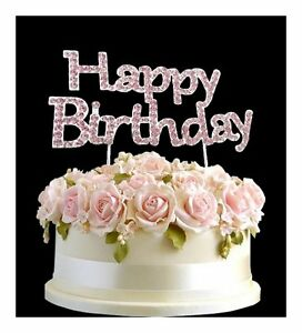 Image Is Loading Rhinestone Birthday Cake Topper Number Pick Pink Happy